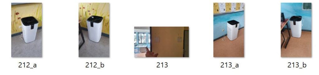 Beispielfotos der aufgestellten Luftfiltergeräte in den Unterrichtsräumen der Wöhlerschule